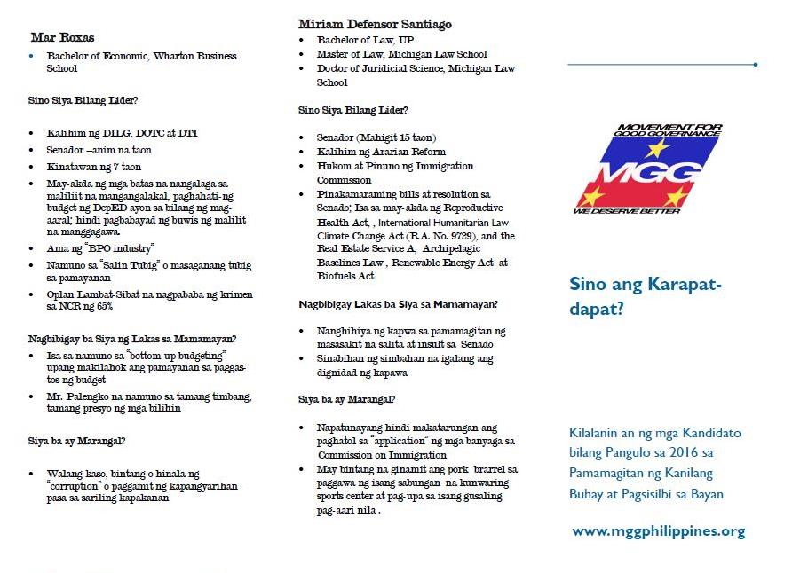 MGG briefer on presidential candidates p1